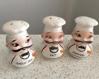 Adorable Vintage 1950's CHEF shakers -- Set of 3 - Vintage Kitchen - Retro