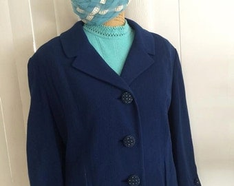 Sale Demure Vintage 1960's Ladies Navy Blazer with Fantastic Button -- Size XL - Jackie O