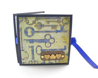 Hearts & Keys Photo Book, Mini Album, Mini Fold Book, Mini Accordion Album, Mini Scrapbook Album, 2x3 Wallets, Blue, Gold
