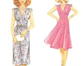 80s Summer Dress with Flared or Slim Skirt Pattern Burda 8468 Multiple Sizes 10 12 14 16 18