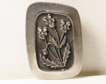 Vintage Rune Tennesmed Sweden Pewter Floral Brooch (B-2-1)