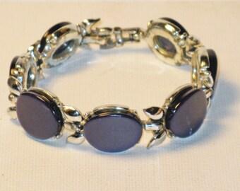 Vintage Midnight Navy Blue Thermoset Link Panel Bracelet (BR-1-2)