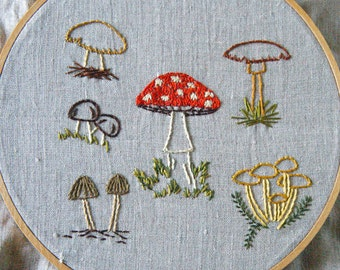 PDF Embroidery Pattern - Wild Mushrooms Botanical Embroidery Pattern Collection