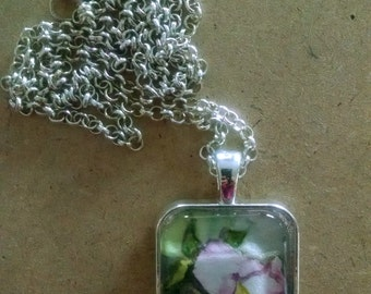 Fine Art Jewelry Watercolor Pendant - Pale Pink Flower Necklace