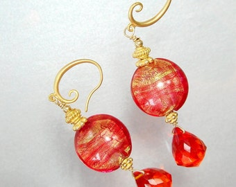 Madeira Citrine Earrings, Lampwork earrings, Statement, Bold Sexy Earrings, Orange Jewelry, Neon, Citrine Jewelry, November