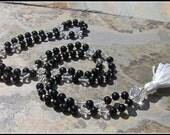 Black Onyx Mala, Quartz M...