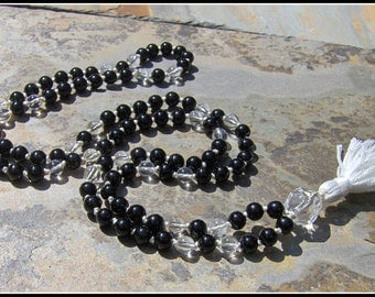Black Onyx Mala, Quartz Mala, Quartz Prayer Beads, Meditation Beads, Japa Mala, Black Mala