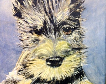 Mid Century Scottish Terrier Painting