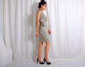 Peplum reconstrucition_RESERVED_vtg 80s grey rose peplum dress