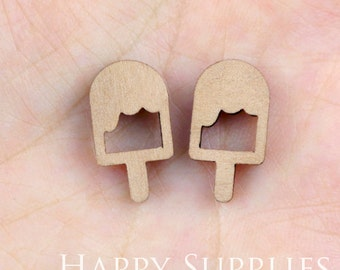 4pcs (SWC90) DIY Laser Cut Wooden Lolly Charms