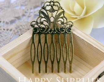 5Pcs Antiqued Vintage Bronze 7 Teeth Barrette Hair Combs (ZX150)