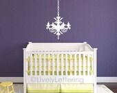 Chandelier wall decal, elegant girls bedroom decal, dining room decor, living room decal, chandelier wall sticker, vinyl lettering (W01900)