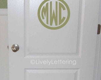 """10"""" Circle Monogram wall decal, 3 letter initials, Circle Block Monogram Decal, Camp Trunk monogram vinyl lettering (LL0933)"""