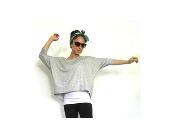 Loose Yoga Shirt- Oversize dolmen women yoga top, Pullover yoga top/ Yoga clothes for women