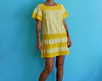 vintage 60's sunshine yellow dress // crochet lace dress // boho mini dress