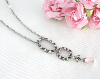 Long purple necklace, Long necklace, Purple necklace, Necklace purple, Purple crystal necklace, Crystal necklace, Purple jewelry