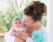 Baby Bow Headband. Aquamarine Aqua Blue. Newborn Baby Girl, Big Day Spring Wedding Accessory, Statement Kid Toddler Christening Hair Hairbow