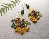 BOHO EARRINGS for dancing gypsy goddess  Festival special Sterling silver Baltic Amber Turquoise One of a Kind  tribal exotic African style