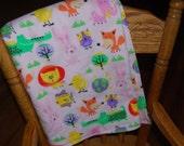 Everyday Pink Flannel Wild Animals Receiving to Toddler Blanket