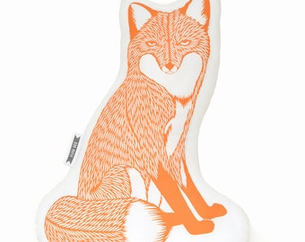 Fox plush, fox pillow, animal pillows, animal pillow, animal cushions, animal print pillows, fox plushie, orange pillow fox throw pillow