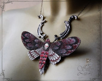 necklace - Deathhead moth Large - science, entomology, gothic, victorian, neovictorian, mourning, bohemian, dark romance, gypsy, moth, red