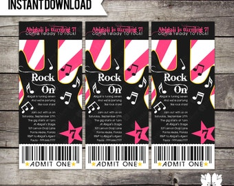 INSTANT DOWNLOAD Pink Rockstar Party Invitation