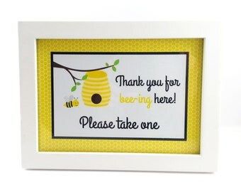 Bumble Bee Party Sign, Bumble Bee Birthday Sign, Bumble Bee Sign, Bumble Bee Party Decoration - 5x7