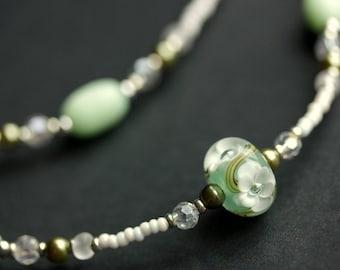 Badge Lanyard or Eyeglass Holder. Sage Green Lanyard. Eyeglass Necklace. Beaded Lanyard. White Flower Lanyard. Glasses Lanyard. Id Lanyard.