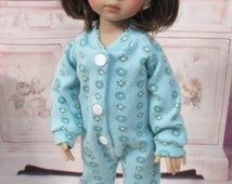 """Teal Floral Print Footie Pajamas for 13""""-14"""" Effner Little Darlings and Betsy McCall"""