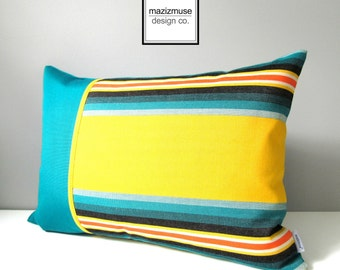 SALE Striped OUTDOOR Pillow Cover, Modern Teal Pillow Cover, Retro Yellow Stripes, Decorative Pillow Case, Colorful Sunbrella Cushion Cover