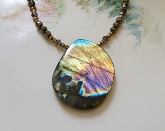 Big Bold Flashy Labradorite Pendant Necklace One of a Kind Smooth Labradorite Pyrite Brass Statement Necklace