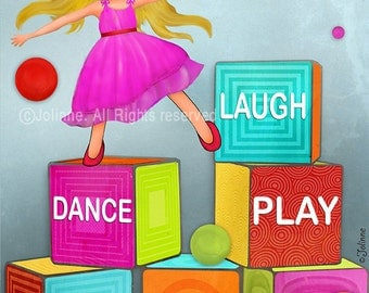 Playroom wall art, poster for playroom, kids art, Kids wall art decor, childrens art print, playroom decor, Laugh Dance Play Read Create