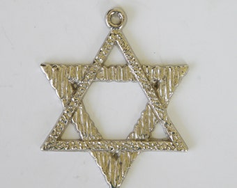 Large vintage silver coated magen david pendant