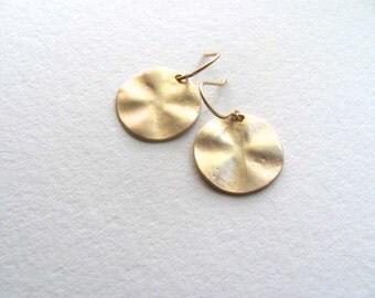 Medium gold disc earrings, 16k matte gold on 14k gold plate fixtures, round circles