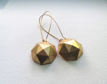 Raw brass round faceted geometric dangle earrings on 14k gold plate fixtures, geometric jewelry