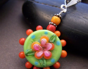 Whimsy Pendant Necklace - Colorful Glass Bead with Sterling Silver Necklace