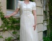 1940s Satin & Stitched Net Wedding Gown