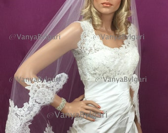 Alencon lace bridal veil fingertip with lace starting at chest gathered top on a comb with re-embroidered Alencon lace in ivory color