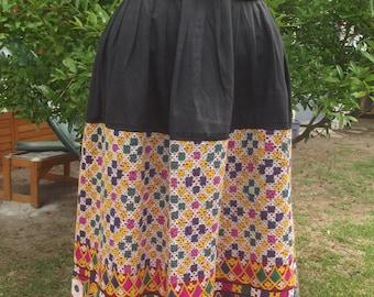 Vintage 70s Ethnic Embroidered Skirt, Gypsy Skirt, High Waisted Skirt, Festival Boho Skirt, Full Peasant Skirt, S M