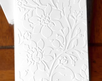 Embossed Floral Cards / Set of 12 / Card Stock / A2 Envelopes / Craft Supplies