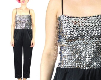 40% OFF Sale 70s Sequin Jumpsuit Disco Black Silver Sequin Tube Top Black Genie Harem Pants Stretch Party Formal Prom Romper (XS/S) E835