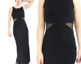 25% OFF SALE 90s Black Body con Dress Black Maxi Evening Dress Mesh Cut Out Sheer Waist Dress Bodycon Sleeveless Stretchy Spandex(S) E831