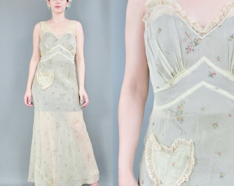 1930s Slip Dress Novelty Print Sheer Slip Floral Bias Cut Nightgown Yellow Flapper Lingerie Maxi Bridal Ruffle Lace Heart Pocket (S/M) E6032