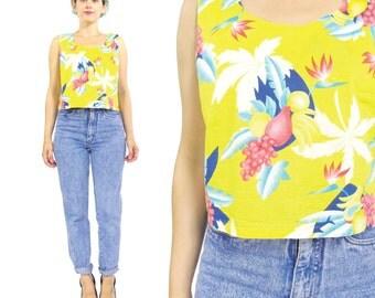 80s Hawaiian Crop Top Fruit Print Tropical Top Bright Yellow Cotton Tank Top Sleeveless Blouse Summer Crop Top Womens Hawaiian Shirt  (S/M)
