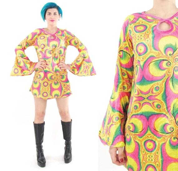 90s Psychedelic Velvet Mini Dress 60s Style Hippie Bell Sleeve Dress ...