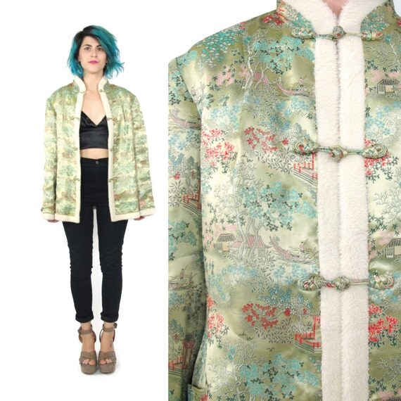 Vintage gold silk embroidered jacket japanese winter coat faux