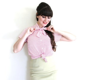 Red Polka Dot Blouse / 60s 70s Bow Blouse