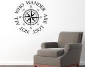 Not all who wander are lost Wall Decal - Compass Decal Sticker - Large