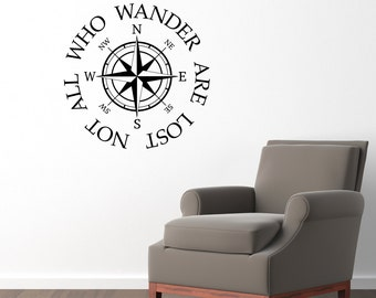 Not all who wander are lost Wall Decal - Compass Decal Sticker