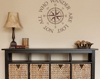 Not all who wander Decal - are lost Quote Wall Decal - Compass Sticker